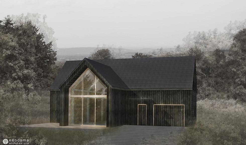 Naturalny, czarny dom z opalaną elewacją