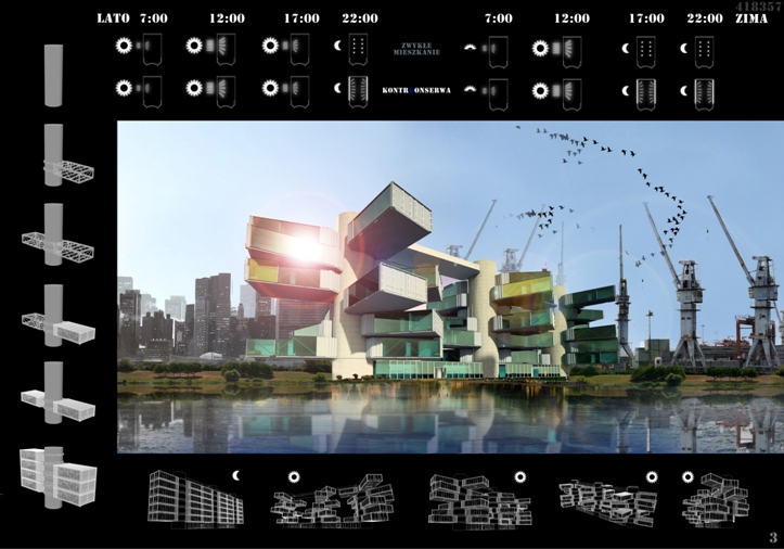 II nagroda w konkursie architektonicznym Rytm Światła... Autorzy: Magdalena Jakubik, Remigiusz Miszczak