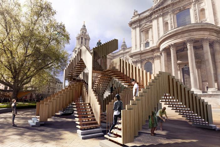 Nieskończone Schody - instalacja z drewna tulipanowca, przygotowywana na Festiwal Dizajnu w Londynie 2013. Fot. materiały prasowe AHEC