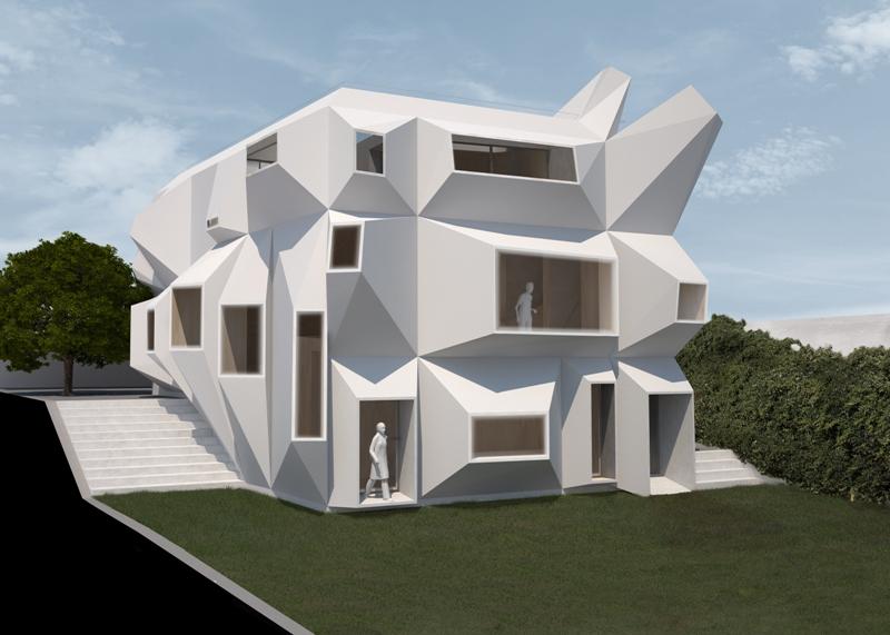 Peryskop - dom nad morzem. Projektowanie parametryczne wykorzystane zostało przy rozmieszczeniu okien