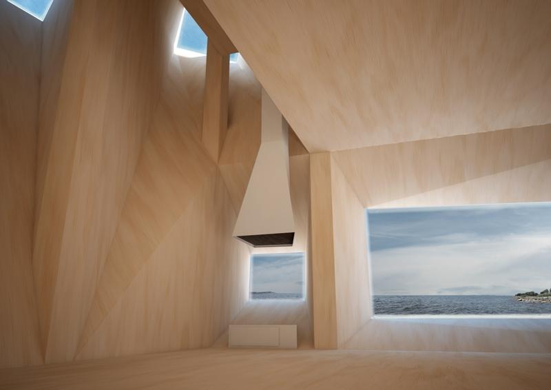 Peryskop: wnętrze domu na wybrzeżu ukształtowane z wykorzystaniem technik projektowania parametrycznego