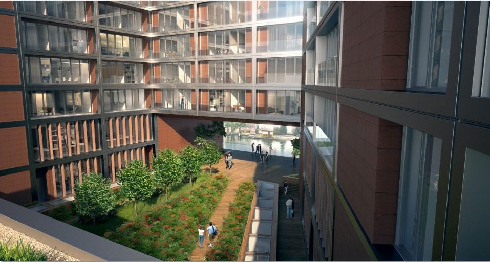 Wewnętrzny dziedziniec apartementowca Nordic Haven w Bydgoszczy
