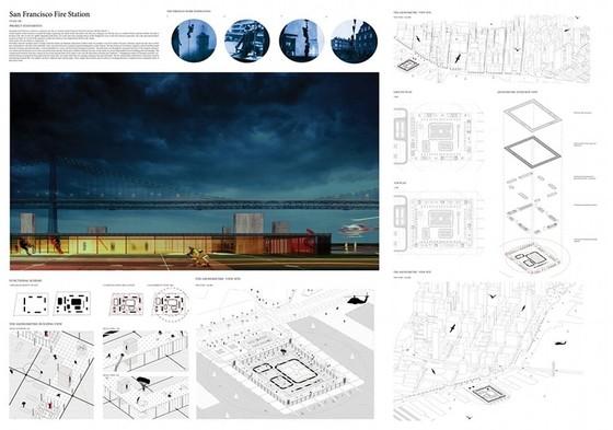 II nagroda w konkursie na projekt siedziby straży pożarnej San Francisco. Autor: Sylwia Franczak, Wydział Architektury Politechniki Krakowskiej