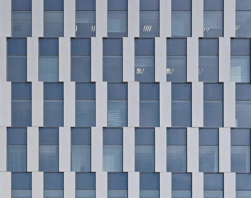 Green Towers; autorzy: Maćków Pracownia Projektowa. Fragment elewacji biurowca we Wrocławiu. Fot. M. Czechowicz