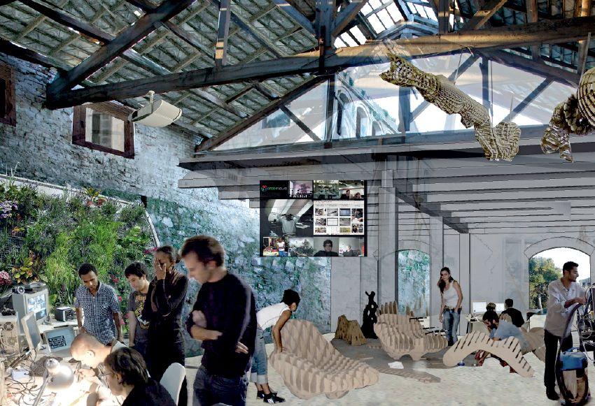 Projekt Green Fab Lab w Valldaurze, wizualizacja wnętrza, fot. Guallart Architects