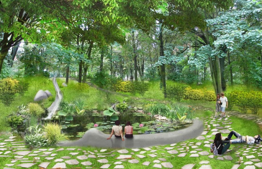 Park Tysiąclecia w Zielonej Górze – sadzawka z organicznie ukształtowanym siedziskiem. Projekt rewitalizacji parku: pracownia architektoniczna BudCud