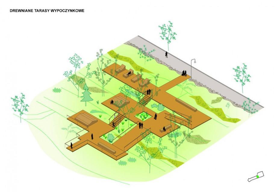 Drewniane tarasy wypoczynkowe, Park Tysiąclecia w Zielonej Górze