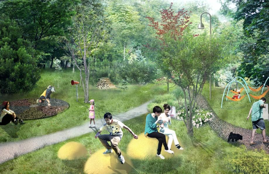 Plac zabaw w Parku Tysiąclecia. Zielone podłoże, naturalne kolory, różnorodność faktur – zaprojektowany w pracowni architektonicznej BudCud  plac ma być atrakcyjny dla użytkowników w różnym wieku i w