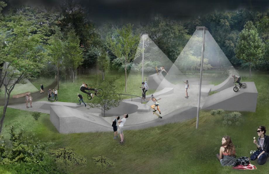 Zmodernizowany skatepark projektu pracowni BudCud