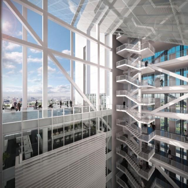 Reforma Towers projektu Richard Meier & Partners. Centralne atrium; widoczny taras widokowy