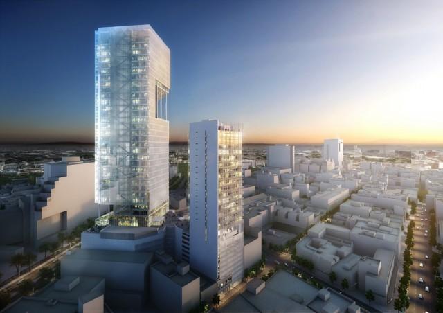 Reforma Towers projektu Richard Meier & Partners. Widok od zachodu