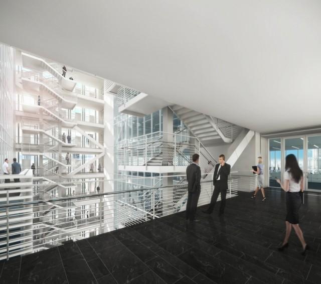 Wnętrze wieżowca reforma Towers projektu Richard Meier & Partners