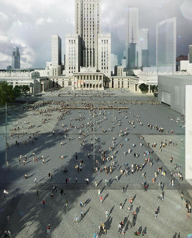 Wizualizacje Muzeum Sztuki Nowoczesnej i TR przy Placu Defilad w Warszawie