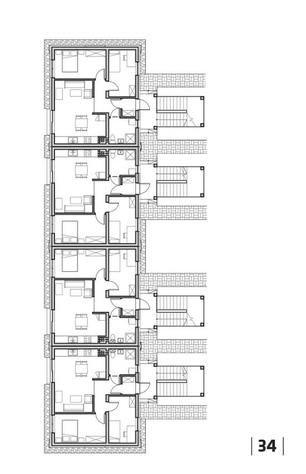 Rzut typowej kondygnacji budynku Kooperatywy Mieszkaniowej Pomorze