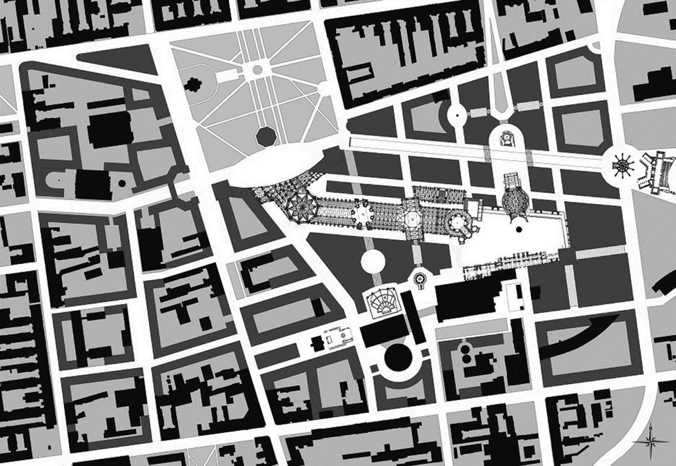 Fragment masterplanu Nowego Centrum Łodzi autorstwa Roba Kriera