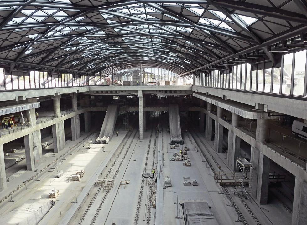 Łódź Fabryczna w trakcie budowy