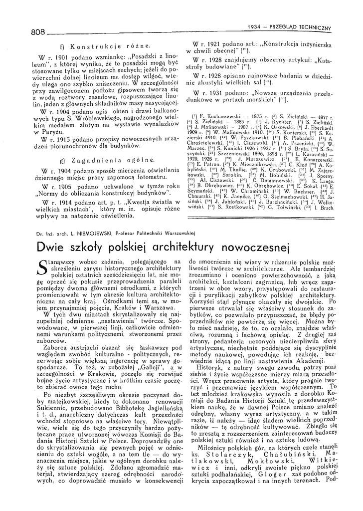 """Lech Niemojewski, Dwie szkoły polskiej architektury nowoczesnej, """"Przegląd Techniczny"""", nr 26/1934"""
