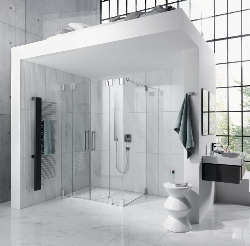 Aranżacja łazienki Ze Strefą Prysznica W Roli Głównej