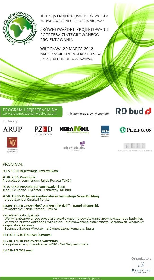 Program spotkania - Wrocław 29.03.2012 Zrównoważone Budownictwo