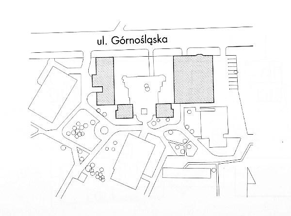 Budynek przy ul. Górnośląskiej w Warszawie, sytuacja. Autorzy: architekci Bogdan Kulczyński, Tomasz Kuls