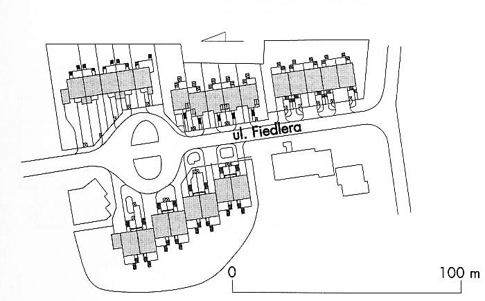 Sytuacja. Cztery domy przy ul. Fiedlera w Bydgoszczy 1989-1999