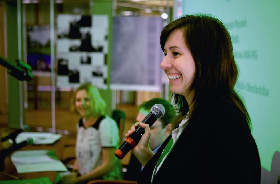 Małgorzata Kijak-Olechnicka, współprowadząca panel Technologia, materiały, narzędzia. Młodzi do Łodzi 2008