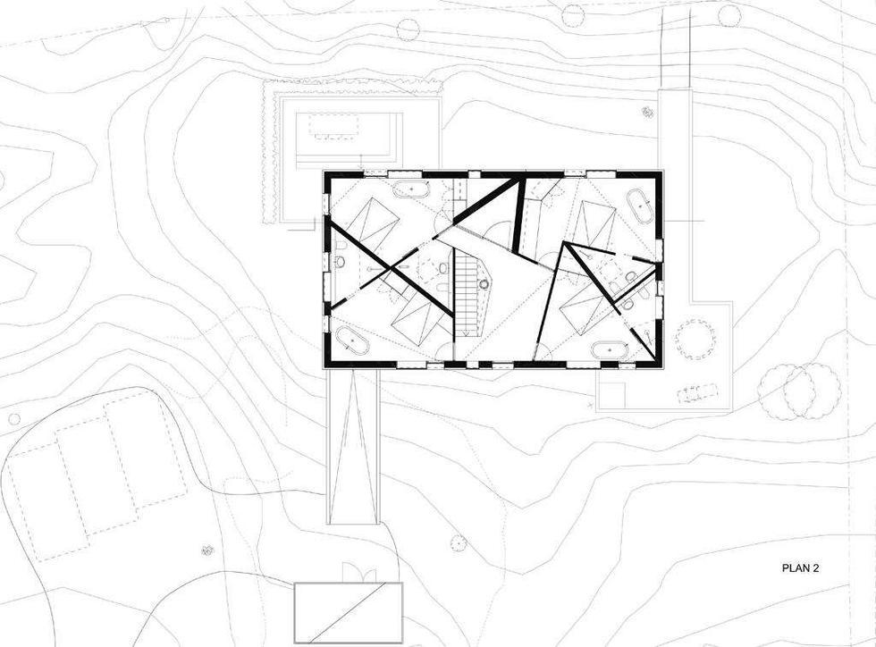 Dom Wydmowy/ Dune House, rzut i otoczenie.  Autorzy: Jarmund/Vigsnæs AS Arkitekter MNAL / Einar Jarmund, Håkon Vigsnæs, Alessandra Kosberg, Anders Granli