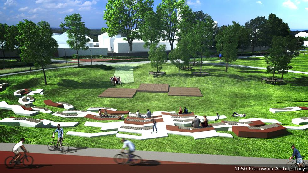 Meble miejskie i ścieżka rowerowa w planowanym parku. Projekt 1050 Pracownia Architektury