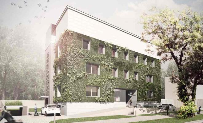 Zielona ściana warszawskiego biurowca