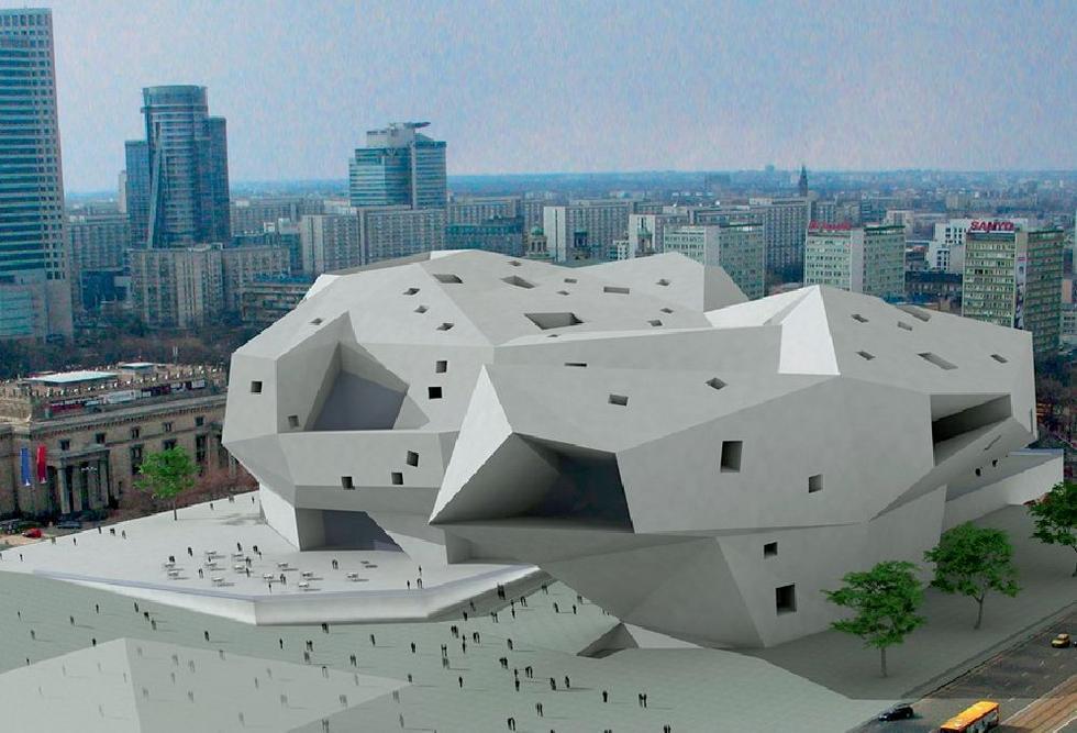 Wyróżnienie. Autorzy: Augustin Sebastian Rivera, Jorge Quesada Ordeig, Hiszpania. Koncepcja architektoniczna Muzeum Sztuki Nowoczesnej w Warszawie