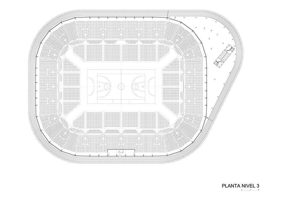 Bilbao Arena, rzut kondygnacji 3. Autorzy: ACTX, Javier Pérez Uribarri, Nicolás Espinosa