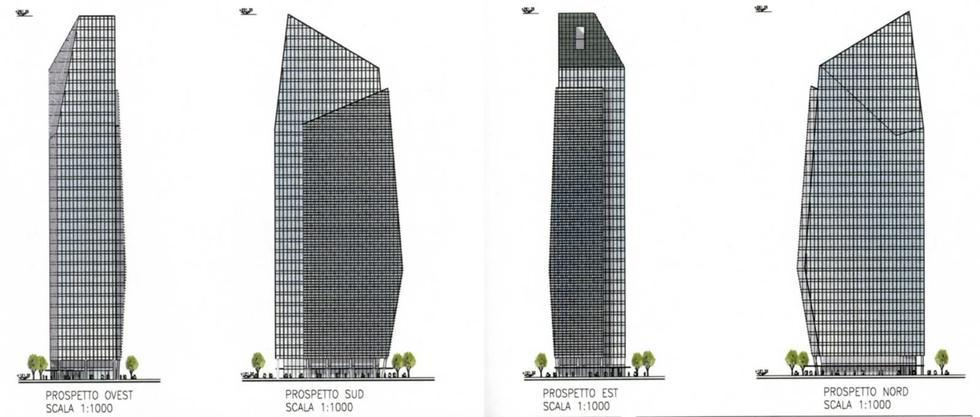 Wieżowiec Torre Diamante w Mediolanie, elewacje