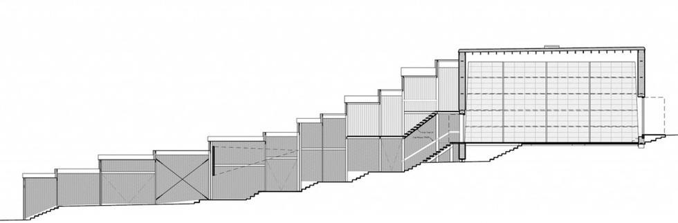 Współczesna architektura w Estonii: tymczasowy teatr No99, przekrój. Fot. Salto architects
