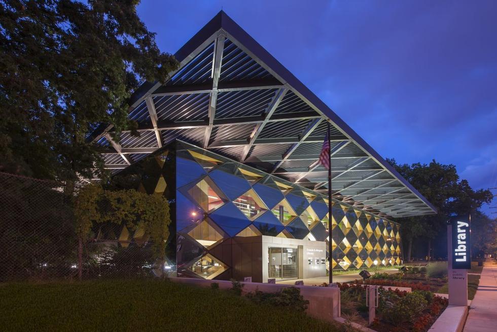 Francis Gregory Library w Waszyngtonie. Drewno, szkło i beton. Fot. Jeff Sauers