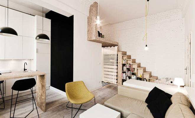Nowoczesna aranżacja wnętrza: 29 m2, jasne meble, dużo światła i przestrzeni