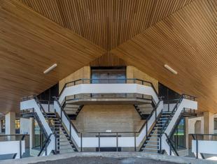 Drewniane wnętrza Uniwersytetu Erazma w Rotterdamie. Współczesna architektura Holandii