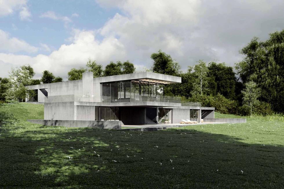 Beton w architekturze - surowa forma Domu w lesie