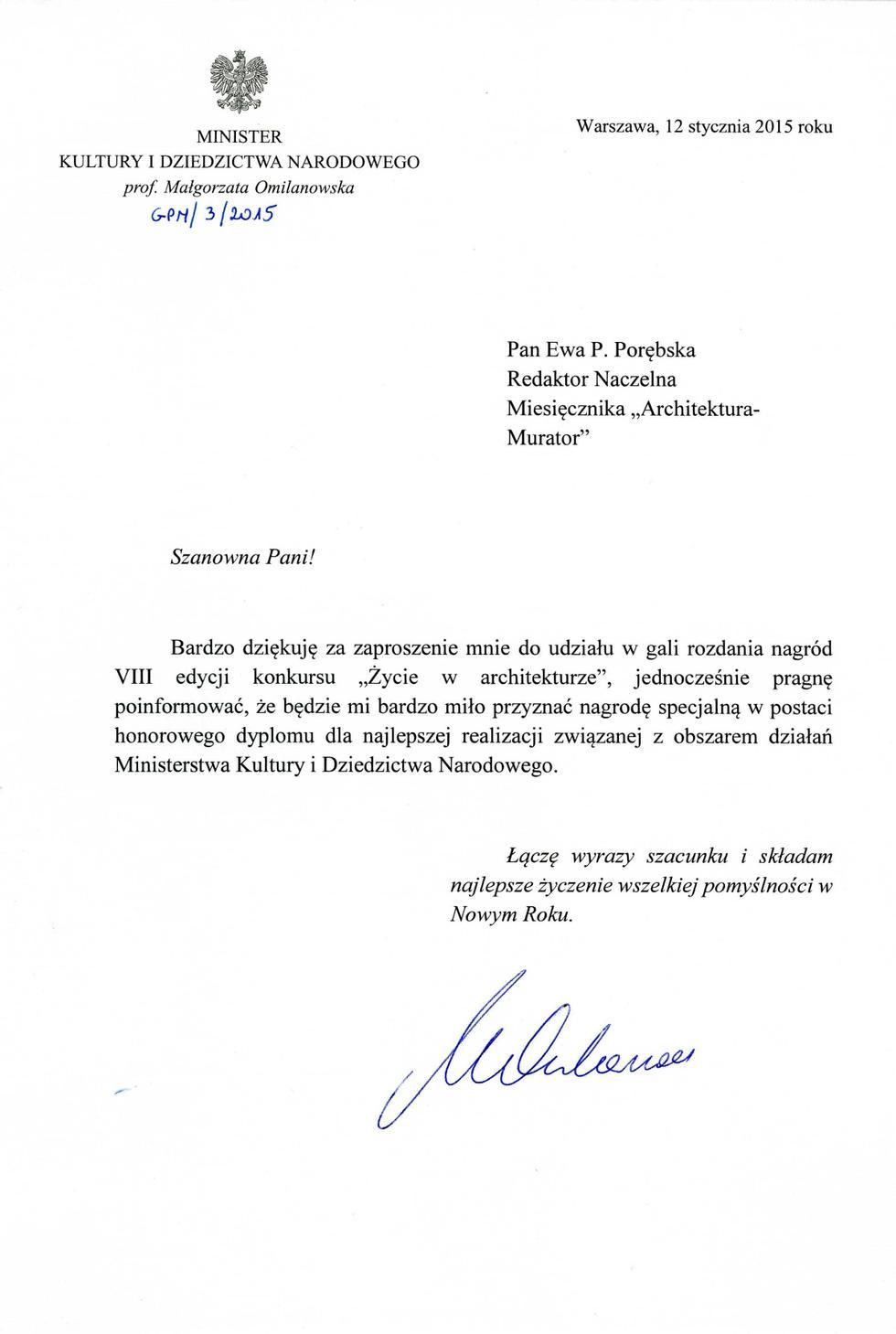 Pismo minister Omilanowska