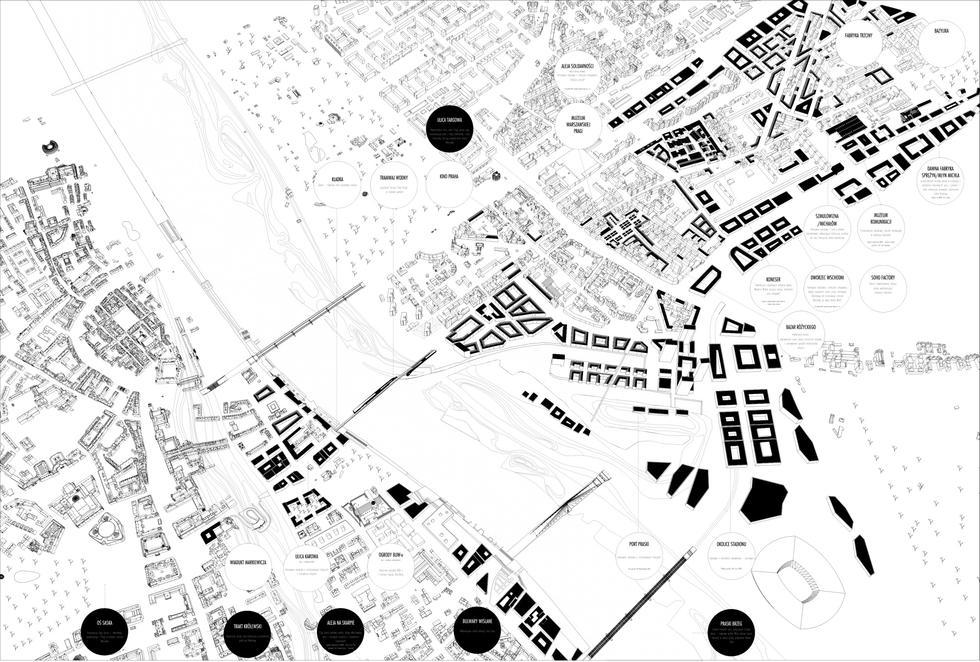 Trakt Praski - projekt pieszo-rowerowej kładki przez Wisłę