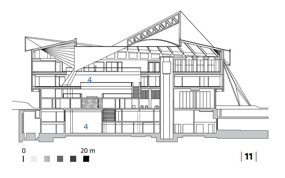 Muzeum Dizajnu w Londynie, przekrój B-B