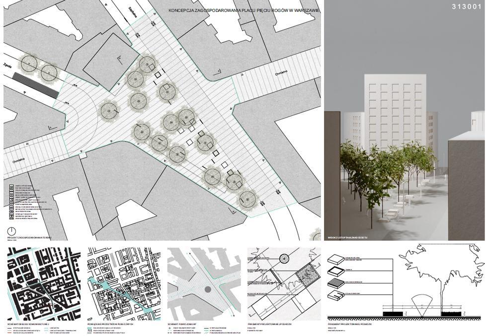 Plac Pięciu Rogów, plansza konkursowa 2. Sytuacja
