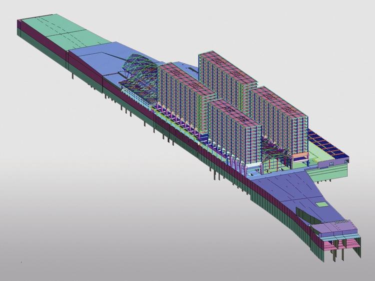 Schemat konstrukcji dworca wraz z budynkami wieżowymi