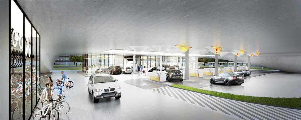 Stacja benzynowa Shell. Parking rowerowy