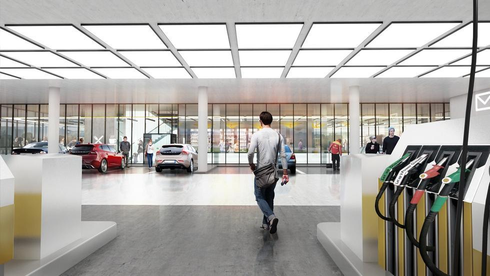 Stacja benzynowa przyszłości. Wnętrze