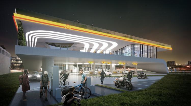 Stacja benzynowa Shell. Oświetlenie
