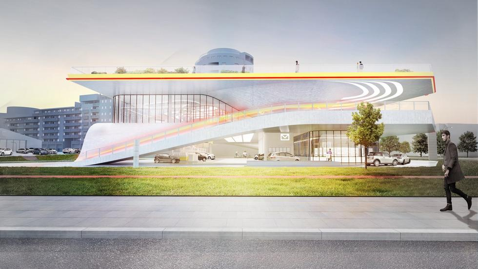 Stacja benzynowa przyszłości. Elewacja