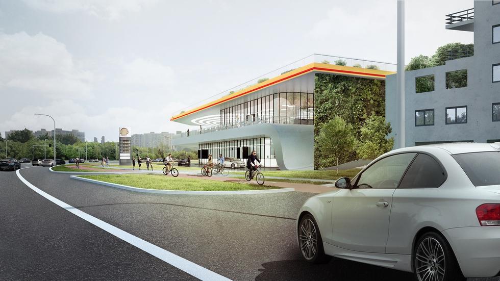 Stacja benzynowa przyszłości. Zielona ściana