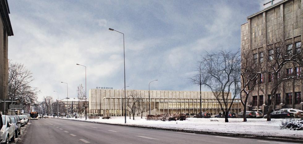 Jedna z koncepcji DDJM. Projekt budynku z kamienną arkadą i Muzeum Błoń