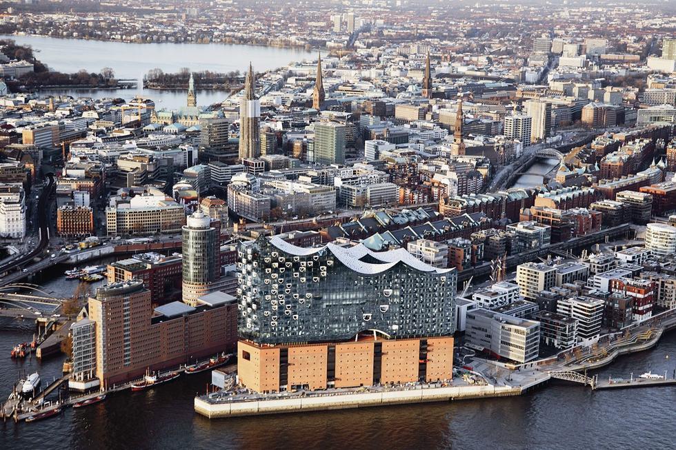 Filharmonia w Hamburgu. Widok z lotu ptaka