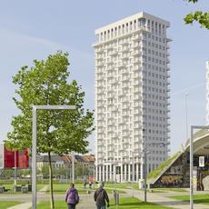 Biała elewacja odporna na zanieczyszczenia: klinkierowa wieża w Antwerpii
